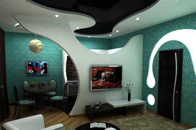 Зонування вітальні за допомогою арок