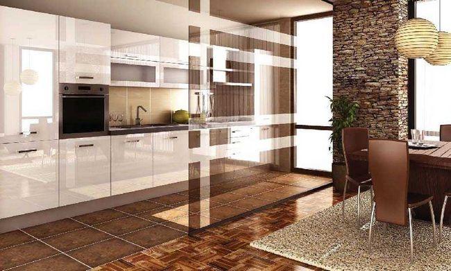 Зонування вітальні за допомогою підлогових покриттів