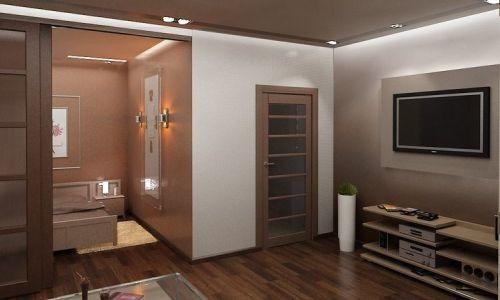 Фото - Зонування в дизайні вітальні спальні